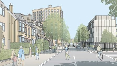 Draft plans to redevelop the site of Durning Hall in Forest Gate have been released. Shown here is t