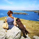 Woman and dog overlook Mullion Cove in Cornwall