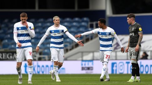 Queens Park Rangers' Lyndon Dykes (second left) celebrates scoring their first goal of the game with