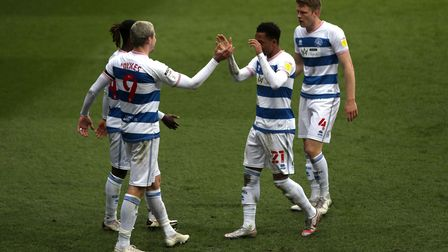 Queens Park Rangers' Lyndon Dykes (second left) celebrates scoring their third goal of the game with