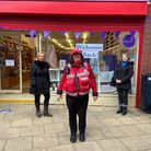 Members of Bid with one of the town rangers outside the Patches shop in Huntingdon.
