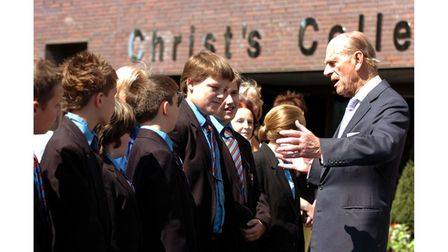 HRH Duke of Edinburgh with group of students from Christ's College Guildford