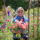 Sarah Raven with bunches of sweetpeas