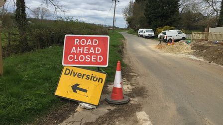Diversion signs on North Hall Road