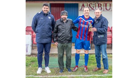Sam Thomas receives his supporters' player of the year award