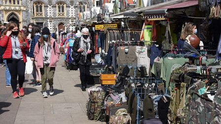 Busy Norwich Market with most of the stalls open as people are out and about enjoying the easing of