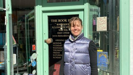 Surya Campbell, book seller at The Book Hive - one of the Norwich independent businesses that reopened on April 12.