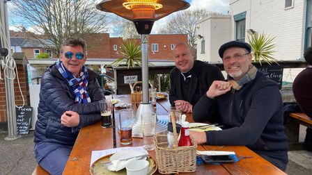 Friends Mark Taylor, Kevin Scott and Jon Titlow enjoy a catch up at the William and Florence in Unthank Road.