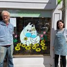 Geoffrey Stalker and Clare Branson outside the Oxfam Books and Music shop in Huntingdon.