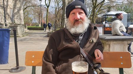 Jonathan Cook, known as John The Poacher, stopped by the newly openedHackney Top to have a pint.