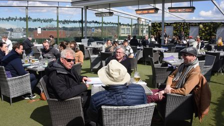 People enjoying the Rooftop Bar as Covid restrictions are eased. Picture: DENISE BRADLEY