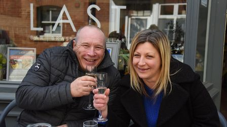 Customers Chris Cloke and Kelly Barrow enjoying being at The Last pub as Covid restrictions are ease