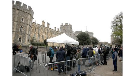 Media outside Windsor Castle following the announcement on Friday of the death of the Duke of Edinburgh at the age of 99.