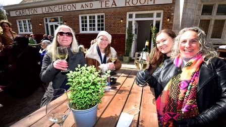 Celebrating the opening of The Carlton tavern 12.04.21.From left Antoinette Tully, Laura Tully, Emi