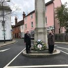 Great Dunmowtown mayor Mike Coleman and clerk Caroline Fullerlaid a wreath