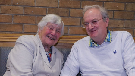 Shirley Williams pictured with Cllr Robin Parker at Daneshill House, Stevenage in 2019