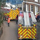 Cambs Fire crews at the scene of the blaze in Museum Squarein Wisbech.