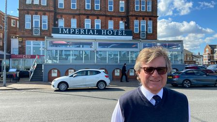 Nick Mobbs in front of the Imperial Hotel