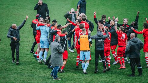 Wild celebrations after a penalty shootout victory from AFC Hornchurch over Notts County.