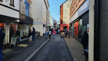 Mill Street in Bideford on Monday, April 12, as restrictions on shops are lifted
