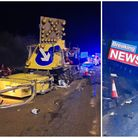 Collision between a lorry and crash cushion closed three lanes on the A1m northbound at Sawtry.