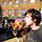 Conrad Whale enjoys his first pint back in the Flask, Highgate