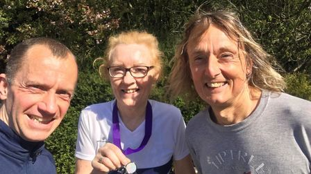 Danny Holeyman, Julia Galea, and Terry Knightley at The Annual St Clare Hospice 10K Road Race