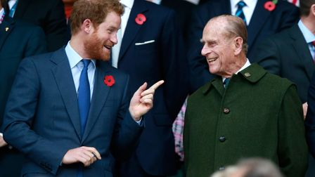 Prince Harry and Prince Philip at the2015 Rugby World Cup Final