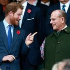 Prince Harry and Prince Philip at the 2015 Rugby World Cup Final