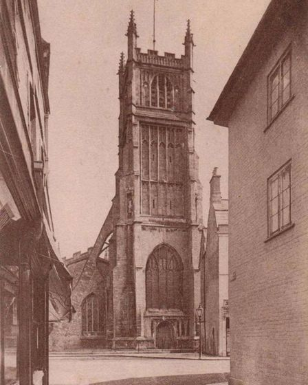 The tower of Cirencester's Parish Church, as seen from St John Street, September, 1913