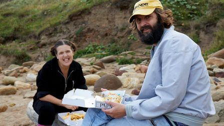 Rosie Jones And Joe Wilkinson in Whitby eating fish and chips