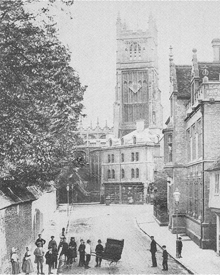 Pre 1880 view of Cirencester's Parish Church, taken from Gosditch Street