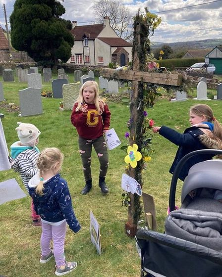 Youngsters enjoyed the Easter donkey trail.