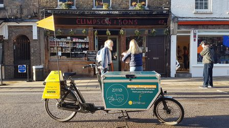 A Zirrø delivery bike outside local coffee roaster Climpson and Sons on Broadway Market.