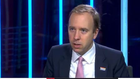 Health Secretary Matt Hancock being interviewed by Kay Burley on Sky News. Photograph: Sky News/PA