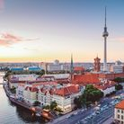 Skyline of Berlin (Germany) with TV Tower at dusk
