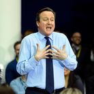 David Cameron delivering a speech to O2 workers in Slough