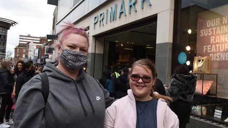 Rebecca Laye and daughter Brooke waiting to get into Primark