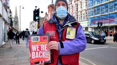 Big Issue seller Jonathan Gregg is back at his regular pitch outside Marks & Spencer on Muswell Hill