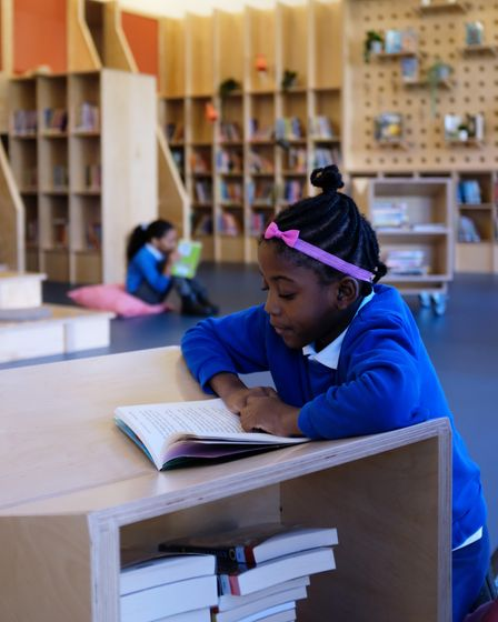 Children reading in the new library at Thornhill School