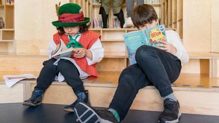 Youngsters reading in Thornhill School's new library