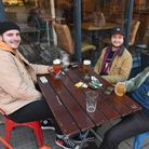 Steven Johnson, James Knight and Billy Burgess enjoying a pint at St Andrews Brew House. Picture: Da