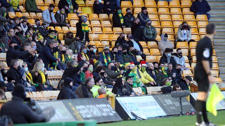The home fans react during the Sky Bet Championship match at Carrow Road, Norwich Picture by Paul C