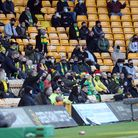 The home fans react during the Sky Bet Championship match at Carrow Road, Norwich