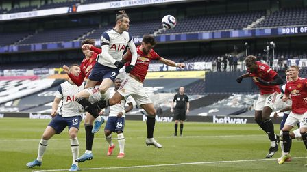 Tottenham Hotspur's Gareth Bale (9) heads towards goal during the Premier League match at the Totten