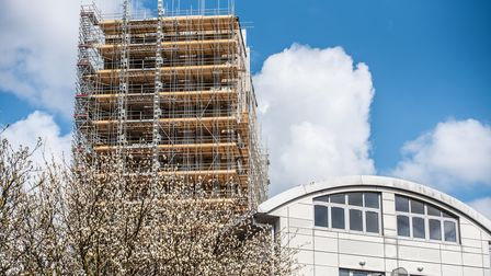 St Francis Tower under scaffolding, before the shrinkwrap was fitted. Picture taken April 2021.
