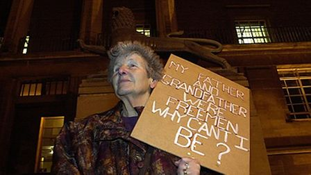 Connie, pictured in 2000, protesting for the right for women to become Freemen.
