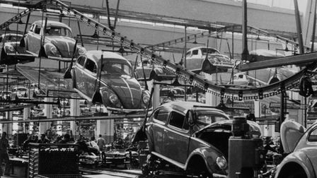 26th September 1956: A production line manufacturing Volkswagen beetles at the factory in Wolfsburg