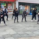 SASA performing a flashmob outside Marks & Spencer, St Albans.