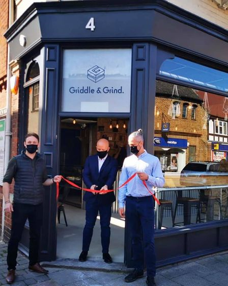 Owner Ashley Skipp, Dale Pinnock and Owner James Larman in the opening of Griddle and Grind